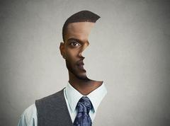 surrealistic portrait front with cut out profile of a young man - stock photo
