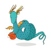 Magic dragon and shell on a white background. Stock Illustration