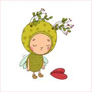 Forest Fairy and heart - stock illustration