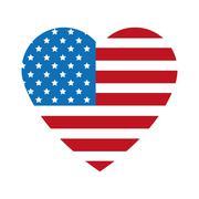 heart shape united states badge icon - stock illustration