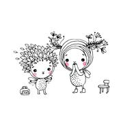 Two fairies on a white background. Stock Illustration