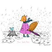 The story about the cute fox and the bird in the rain. - stock illustration