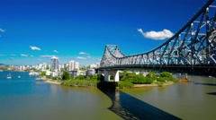 Brisbane story bridge with the view of Kangaroo Point. Stock Footage
