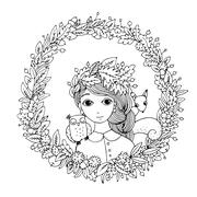 Beautiful young girl in a wreath. Stock Illustration
