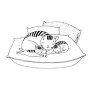 Cute cartoon cats on cushions. - stock illustration