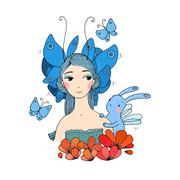Beautiful young girl, butterflies and hare - stock illustration