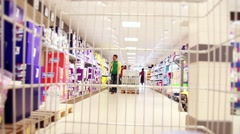 Time Lapse Shopping Cart In Supermarket With People Doing Shopping - stock footage
