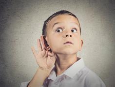 Curious man, boy, listens, hand to ear gesture Kuvituskuvat