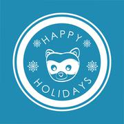 raccoon cartoon icon. Merry Christmas. vector graphic - stock illustration