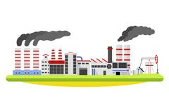 Industrial factory landscape. Buildings with smoke of the pipe. Industry concept Piirros