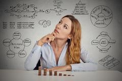 Businesswoman calculating risks of new project implementation Stock Photos