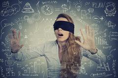 Blind businesswoman making plans Stock Photos