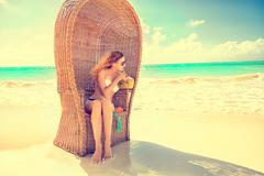 Woman young lady with sunglasses relaxing on the tropical beach Kuvituskuvat