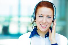 Customer service representative with hands free device Stock Photos