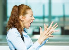 Stressed, screaming business woman Stock Photos