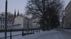 Calm early morning in a small Swedish city Stock Footage