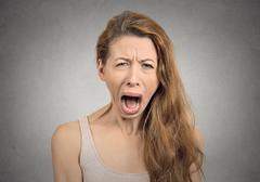 angry upset woman screaming crying - stock photo