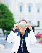 Corrupt female politician in washington DC - stock photo