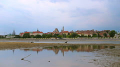 View on Warsaw Old Town from Visla river Stock Footage