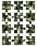 Puzzle camouflage seamless - stock illustration