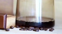 Black coffee from coffee dripping by pouring hot water Stock Footage