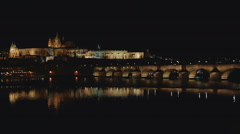 Prague castle at night - stock footage