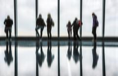 Blurred image of people in the lobby - stock photo