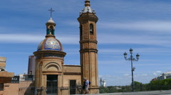 View over canal Alfonso XIII in Seville, Museum Del Castillo De San Jorge Stock Footage