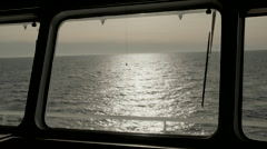 Open sea shot from higher deck - stock footage