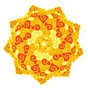 Hand drawn colorful star Mandala isolated on white background Stock Illustration