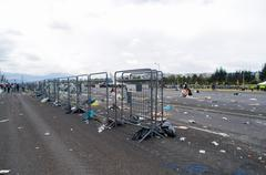 QUITO, ECUADOR - JULY 7, 2015: After pope Francisco mass, garbage in the place - stock photo
