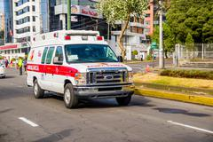 QUITO, ECUADOR - JULY 7, 2015: Ambulance always near for every event in the city - stock photo