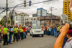 QUITO, ECUADOR - JULY 7, 2015: Pope Francisco arriving to Ecuador, people on the Stock Photos