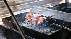 Barbecued suckling pig Stock Footage