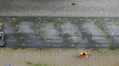 High-angle view of street cleaning. Stock Footage