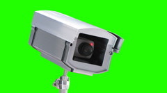 Security camera with blinking red light on a green screen Stock Footage