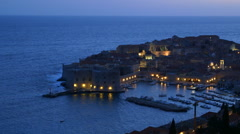 NIGHT FALLS OVER OLD PORT OLD TOWN DUBROVNIK Stock Footage
