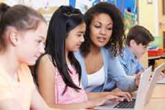 Teacher Helping Group Of Elementary School Children In Computer Class Stock Photos
