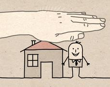 Big hand - house insurance Stock Illustration