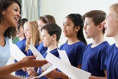 Group Of School Children With Teacher Singing In Choir Stock Photos