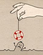 Big hand - rescue Stock Illustration