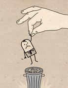 Big hand - trash can - stock illustration