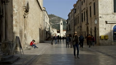 PLACA STRADUN BELL TOWER OLD TOWN DUBROVNIK Stock Footage
