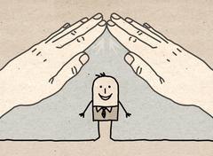 Big hand - roof - stock illustration