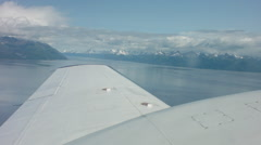 Piper PA-31 Navajo Plane Wing Aerial Over Alaska Stock Footage
