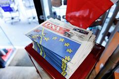 DNA Alsace  newspaper with shocking headline about brexit Stock Photos