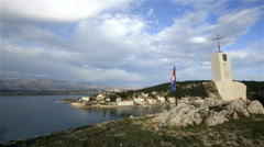 WAR MEMORIAL NOVIGRAD NOVIGRAD CROATIA Stock Footage