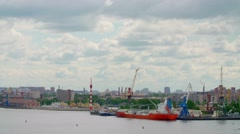 Port Time-lapse of Saint-Peterburg City in a cloud summer day Stock Footage