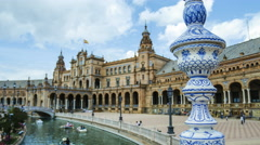 Close-up time lapse of a feature on a bridge on Plaza de Espana, Seville - stock footage