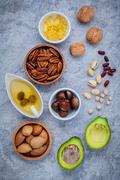 Selection food sources of omega 3 and unsaturated fats. super food high omega Stock Photos